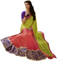 Rajshri Fashions Embroidered Fashion Georgette Saree(Green, Red)