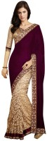 Aksh Fashion Self Design Fashion Velvet, Brasso Saree(Maroon)