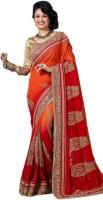 M.S.Retail Embroidered Fashion Handloom Chiffon Saree(Orange)