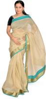Jagadamba Solid Fashion Silk Saree(White, Blue)