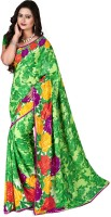 Jiya Self Design, Printed, Embellished Fashion Poly Georgette Saree(Multicolor, Green)