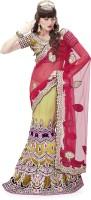 MAHOTSAV Self Design Lehenga Saree Net Saree(Red, Yellow)