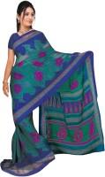 Jiya Self Design, Printed Fashion Chiffon Saree(Multicolor, Blue)