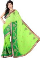 Khoobee Embroidered Fashion Chiffon Saree(Light Green)