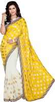 Jiya Self Design, Embroidered, Embellished Fashion Cotton Blend, Poly Georgette Saree(White, Yellow)