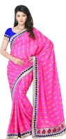 JTInternational Self Design Fashion Jacquard Saree(Pink)