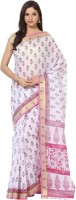 Fostelo Self Design Daily Wear Cotton Saree(White)