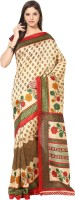 Fostelo Printed Daily Wear Cotton Saree(Beige)