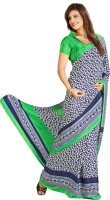 Khoobee Printed Fashion Poly Crepe Saree(Green, Blue)