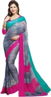 Saara Solid Daily Wear Georgette Saree(Grey)