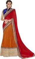 Triveni Self Design, Solid Lehenga Saree Chiffon, Net Saree(Orange, Red, Gold)