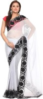 Kataan Bazaar Self Design Banarasi Georgette Saree(White)