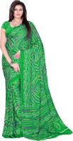 Aaradhya Fashion Printed Bandhani Handloom Crepe Saree(Green)