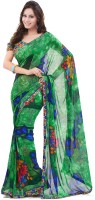 Cenizas Floral Print Fashion Chiffon Saree(Green)