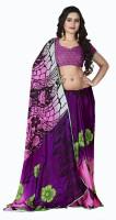 Jiya Self Design, Printed Fashion Poly Georgette Saree(Multicolor, Purple, Pink, Black)