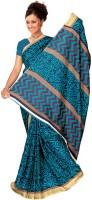 Jiya Printed Fashion Poly Silk Saree(Blue)