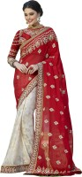 Khoobee Self Design, Embroidered, Embellished Fashion Georgette Saree(Red, White)