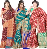 Its Banii Woven Banarasi Handloom Banarasi Silk Saree(Pack of 3, Maroon, Green, Red)