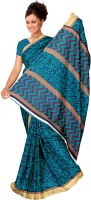 Khoobee Self Design, Printed Fashion Poly Silk Saree(Blue)