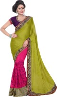 Florence Embroidered Bollywood Synthetic Chiffon Saree(Green, Pink)
