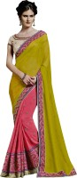 Ewows Embroidered, Embellished Fashion Chiffon, Georgette Saree(Pink)