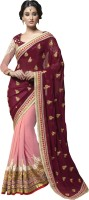 Saara Self Design Fashion Georgette Saree(Maroon, Pink)