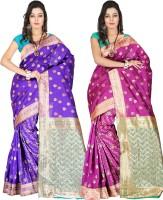 Indi Wardrobe Woven Banarasi Handloom Banarasi Silk Saree(Pack of 2, Blue, Pink)