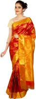 Thara Sarees Self Design Kanjivaram Silk Saree(Red, Yellow)