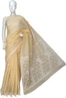 Ada Embroidered Lucknow Chikankari Handloom Cotton Saree(Beige)