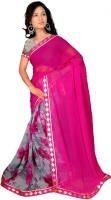 Khoobee Floral Print Fashion Poly Georgette Saree(Pink, Grey)