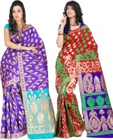Its Banii Woven Banarasi Handloom Silk Saree(Pack of 2, Blue, Red)