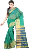 Indi Wardrobe Striped Maheshwari Handloom Cotton Linen Blend Saree(Green)