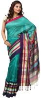 Kataan Bazaar Woven Maheshwari Handloom Cotton Saree(Blue)