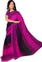 Khoobee Printed Fashion Poly Georgette Saree(Blue, Pink)