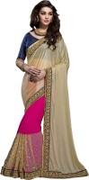 Jiya Self Design, Embroidered, Embellished Fashion Net, Georgette, Lycra Saree(Pink, Beige, Blue)
