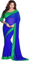 Sourbh Sarees Solid Bollywood Georgette Saree(Blue, Green)