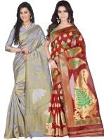 Weavedeal Embellished Kanjivaram Silk Cotton Blend Saree(Pack of 2, Grey, Red)
