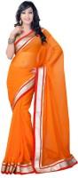 Suvastram Solid Fashion Chiffon Saree(Orange)