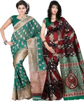 Its Banii Woven Banarasi Handloom Banarasi Silk Saree(Pack of 2, Green, Black)