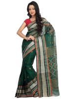 Mrsaree Self Design Tant Handloom Cotton Saree(Dark Green)