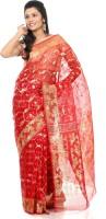 B3Fashion Self Design Jamdani Silk Saree(Red)