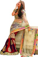 Welcome Fashion Self Design Bollywood Handloom Net Saree(Red, White)