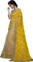 Khoobee Self Design, Embellished, Embroidered Fashion Net Saree(Yellow, Beige)