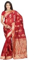 Indi Wardrobe Woven Banarasi Handloom Banarasi Silk Saree(Red)