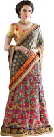 Khoobee Self Design, Embroidered Fashion Net Saree(Grey, Beige)