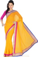 Saree Swarg Solid Bollywood Georgette Saree(Yellow)