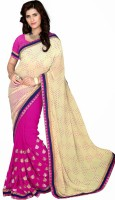 Rozdeal Embroidered Daily Wear Jacquard Saree(Beige, Pink)