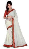 Cenizas Solid Fashion Georgette Saree(White)