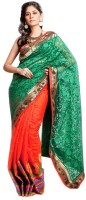 Kataan Bazaar Self Design Banarasi Handloom Net Saree(Green)