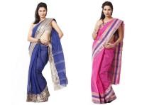 Purabi Woven Tant Handloom Cotton Saree(Pack of 2, Blue, Pink)